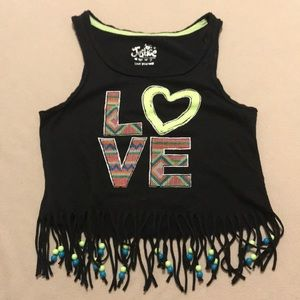 Justice girls black LOVE beaded tank top Size 7